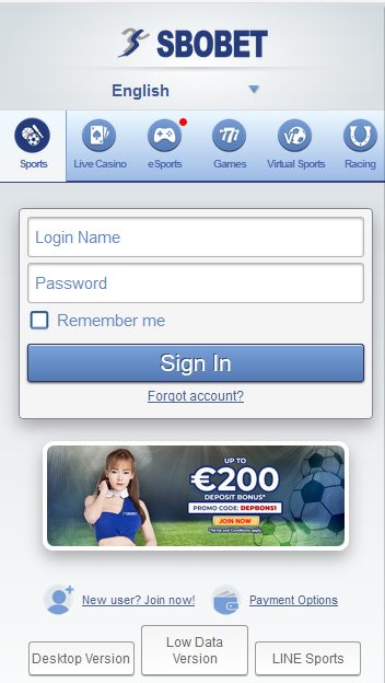 login mobile sbobet